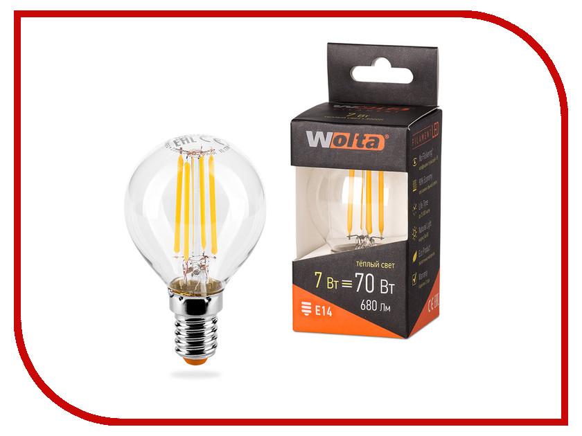 Лампочка Wolta LED G45/7W/3000K/E14 25Y45GLFT7E14 цена