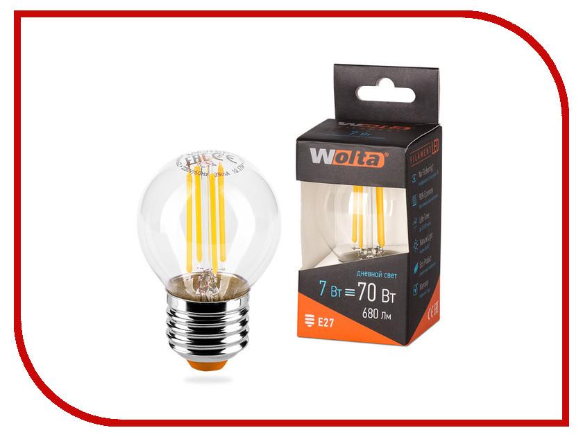 Лампочка Wolta LED G45/7W/4000K/E27 25S45GLFT7E27 лампа светодиодная wolta 25y55bl9 e27