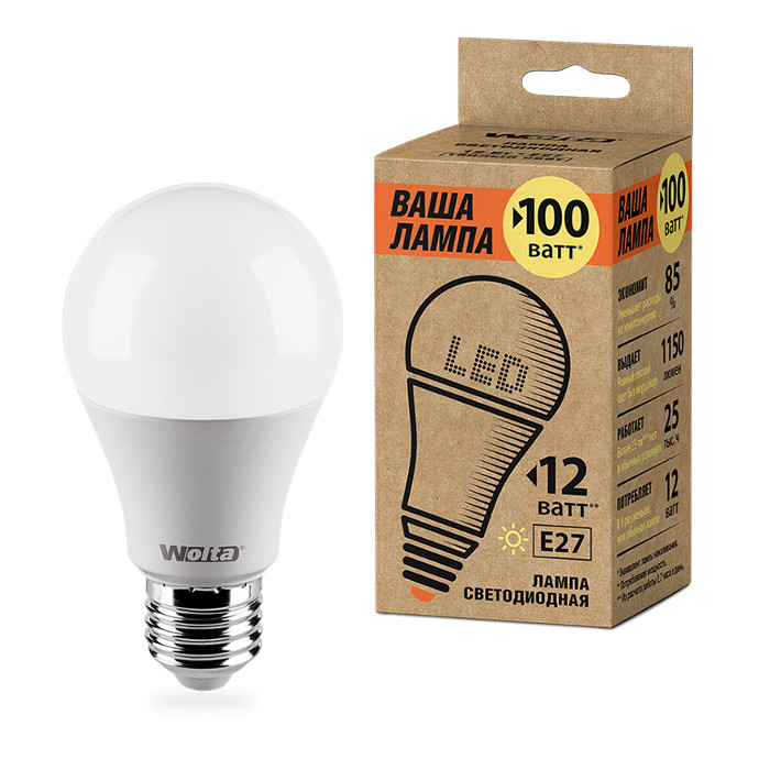 Лампочка Wolta LED A60 E27 12W 220V 3000K 1150Lm Warm Light 25Y60BL12E27-P