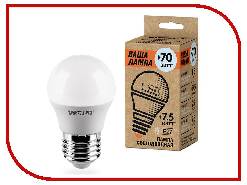 Лампочка Wolta LED G45/7.5W/4000K/E27 25S45GL7.5E27-P s 25