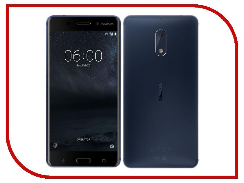 Сотовый телефон Nokia 6 Dual Sim Blue сотовый телефон nokia 8 dual sim copper