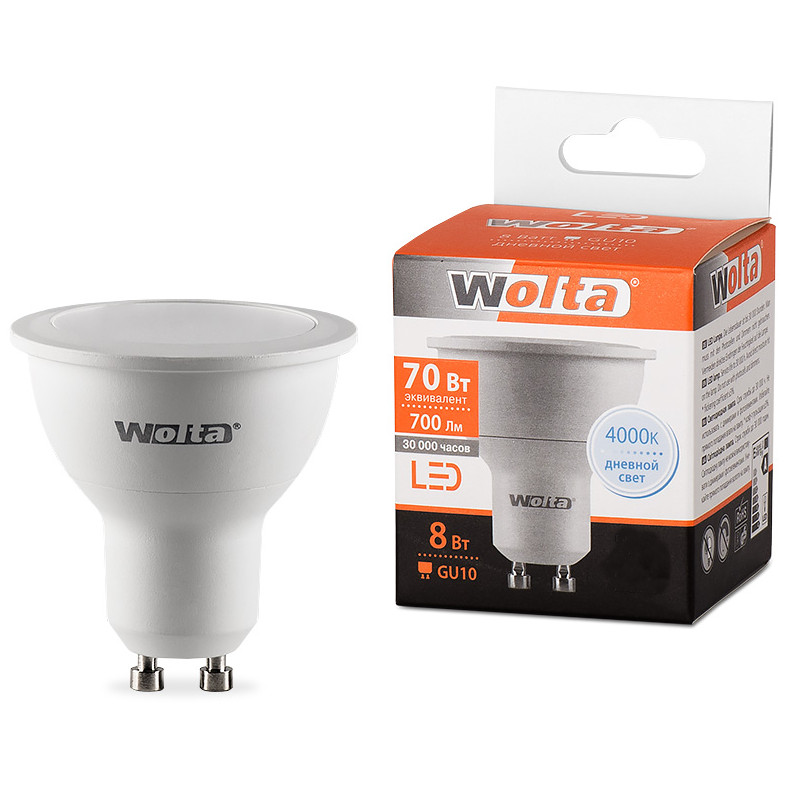 Лампочка Wolta LED MR16 GU10 8W 220V 4000K 700Lm Daylight 25SPAR16-230-8GU10