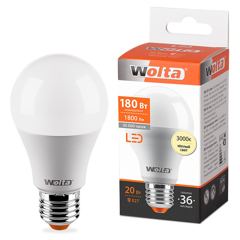 Лампочка Wolta LED A60/20W/3000K/E27 25Y65BL20E27