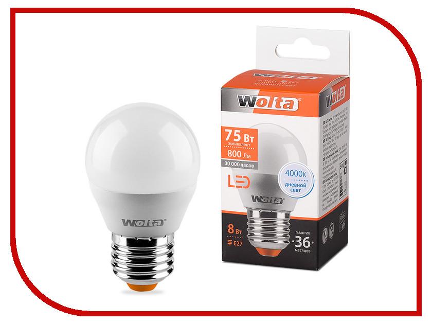 Лампочка Wolta LED G45/8W/4000K/E27 25S45GL8E27 лампа светодиодная wolta 25y55bl9 e27