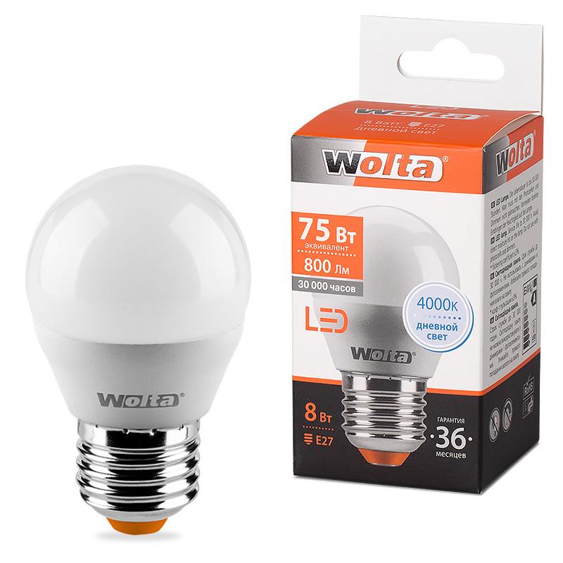 Лампочка Wolta LED E27 G45 8W 220-240V 4000K 800Lm Daylight 25S45GL8E27