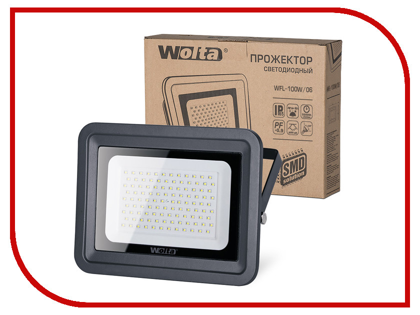 Прожектор Wolta WFL-100W/06 100W 220V 5500K SMD IP65 Black