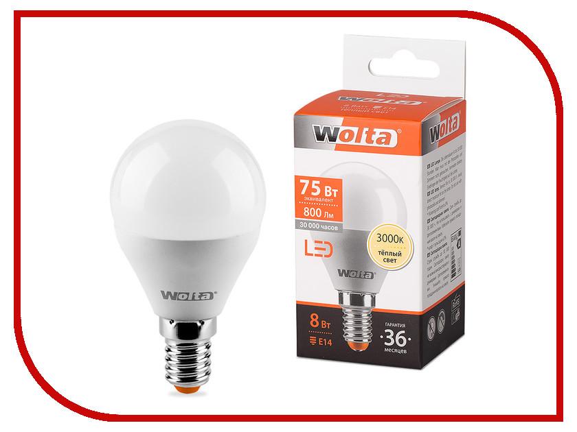 Лампочка Wolta LED E14/G45/8W/3000K 25Y45GL8E14 цена