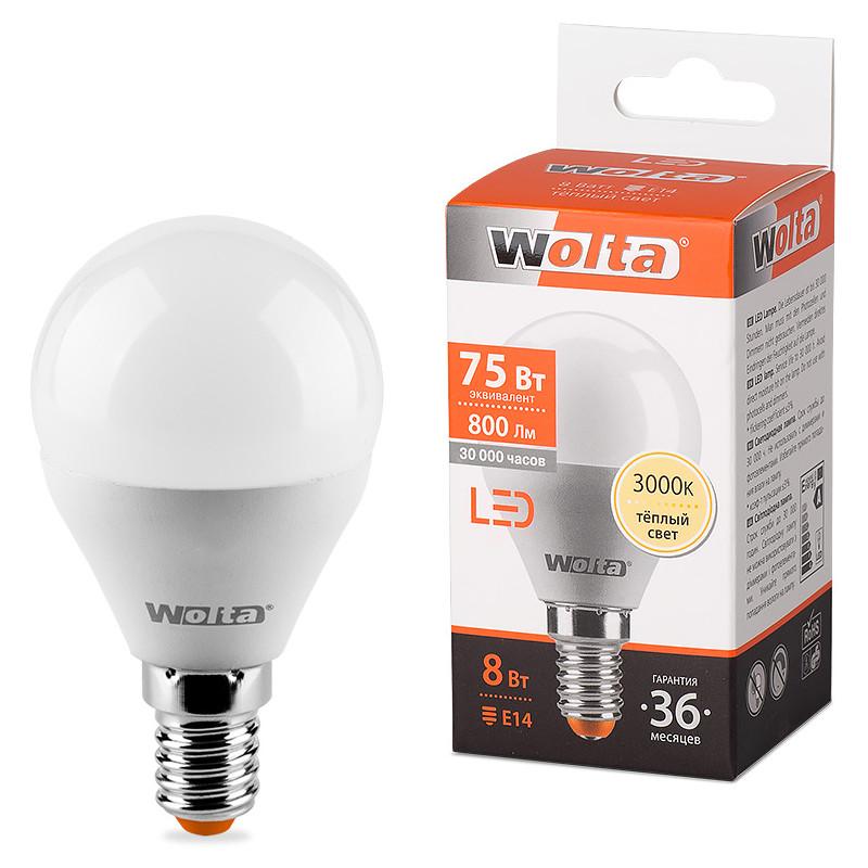 купить Лампочка Wolta LED E14/G45/8W/3000K 25Y45GL8E14 по цене 78 рублей