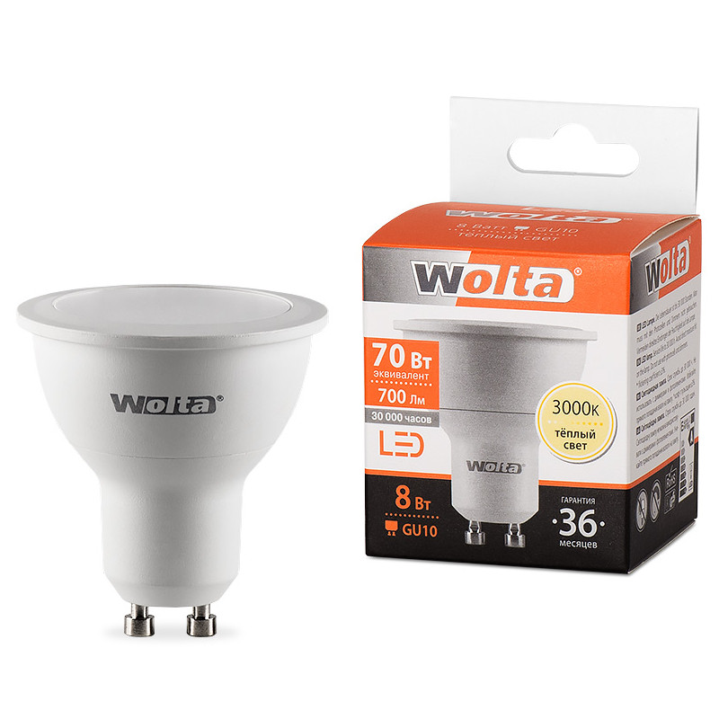 Лампочка Wolta LED MR16 GU10 8W 3000K 700Lm Warm Light 25YPAR16-230-8GU10