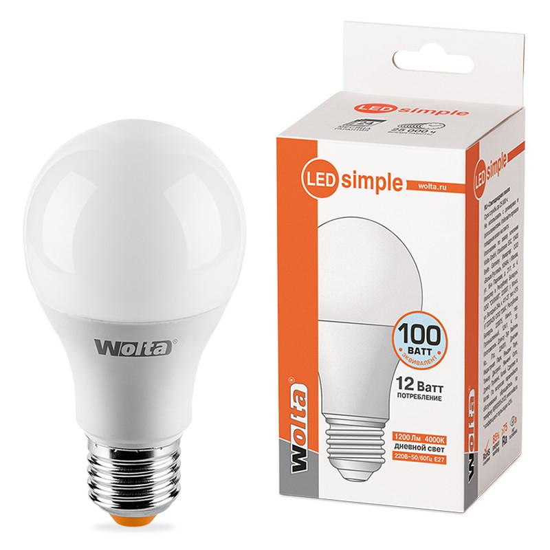 Лампочка Wolta LED E27/A60/12W/4000K 25S60BL12E27-S