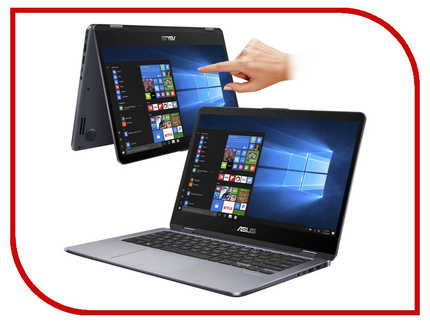 Ноутбук ASUS VivoBook Flip 14 TP410UA-EC303T 90NB0FS1-M08370 (Intel Core i3-7100U 2.4 GHz/8192Mb/1000Gb/No ODD/Intel HD Graphics/Wi-Fi/Bluetooth/Cam/14.0/1920x1080/Touchscreen/Windows 10 64-bit) ноутбук asus k751sj ty020d 90nb07s1 m00320