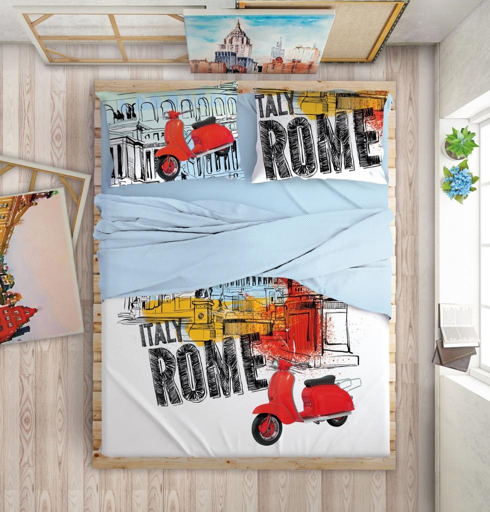 цена Постельное белье LOVE ME Holliday in Rome Комплект 2 спальный Перкаль 711020 онлайн в 2017 году