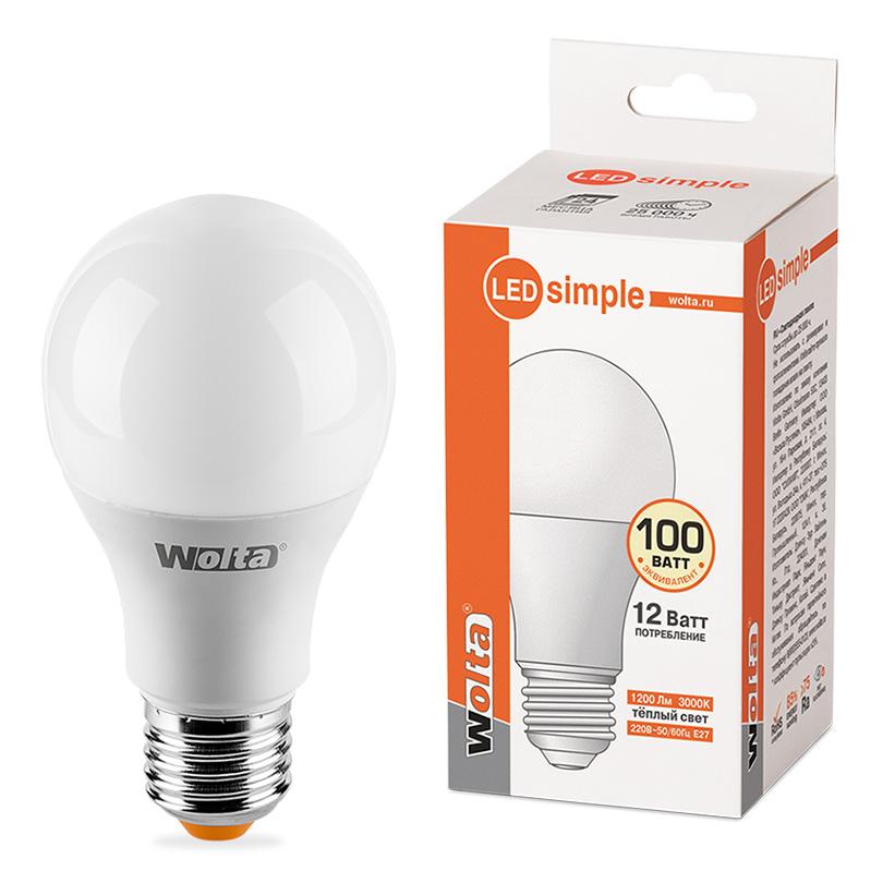 цена на Лампочка Wolta LED A60/12W/3000K/E27 25Y60BL12E27-S