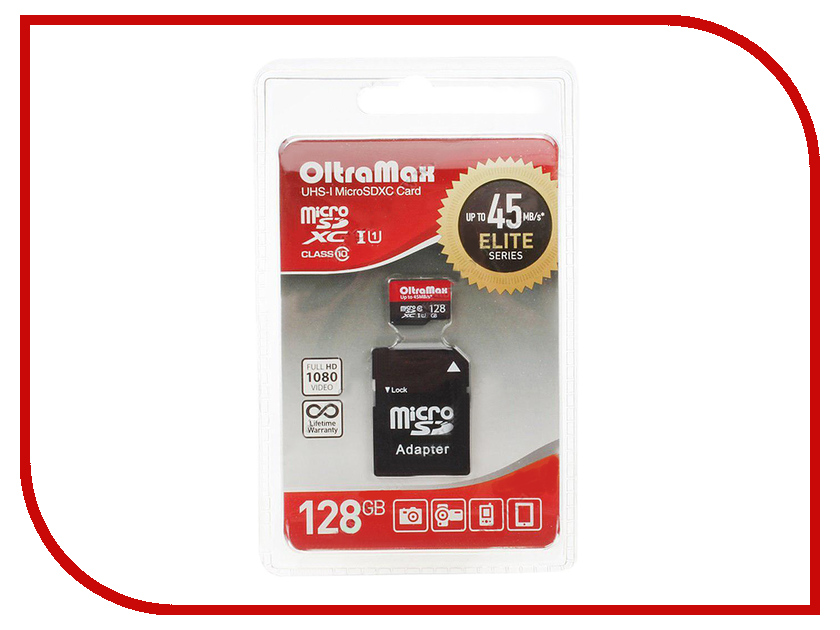 Карта памяти 128Gb - OltraMax - Micro Secure Digital HC Class 10 OM128GCSDXC10UHS-1-ElU1 с переходником под SD