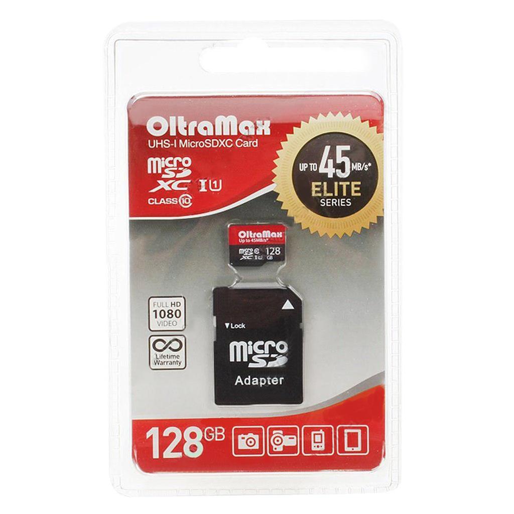 Карта памяти 128Gb - OltraMax Micro Secure Digital HC Class 10 OM128GCSDXC10UHS-1-ElU1 с переходником под SD