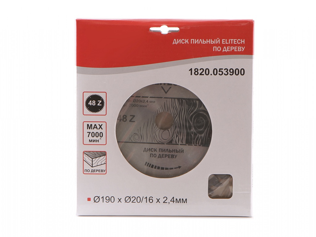 Диск Elitech 1820.053900 пильный для дерева, 190mm/20/16mm/2.4mm 48 зубьев цена