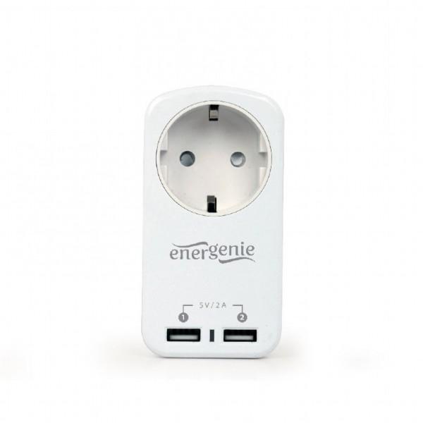 Розетка Gembird Energenie EG-ACU2-01-W с 2-мя USB White