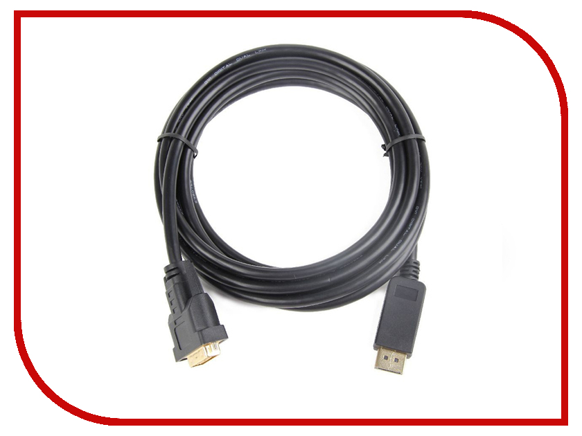 Аксессуар Gembird Cablexpert DisplayPort to DVI 20M/25M 3m Black CC-DPM-DVIM-3M samzhe hdmi to dvi cable 2m 3m 5m hdmi male to dvi male 18 1 pin cable adapter support 1080p for hdtv projectors pc