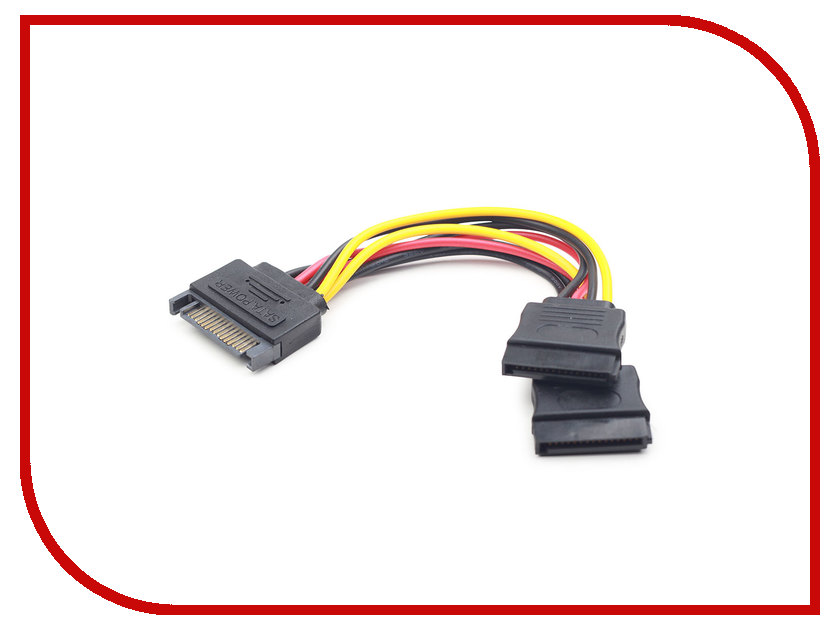 Аксессуар Кабель питания Gembird Cablexpert SATA 15-pin/M - 2x15-pin/F 15cm CC-SATAM2F-01 sata 22 pin male to micro sata 16 pin female power adapter