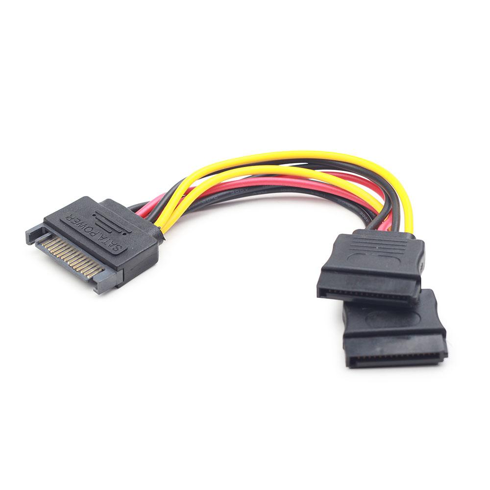 Аксессуар Кабель питания Gembird Cablexpert SATA 15-pin/M - 2x15-pin/F 15cm CC-SATAM2F-01