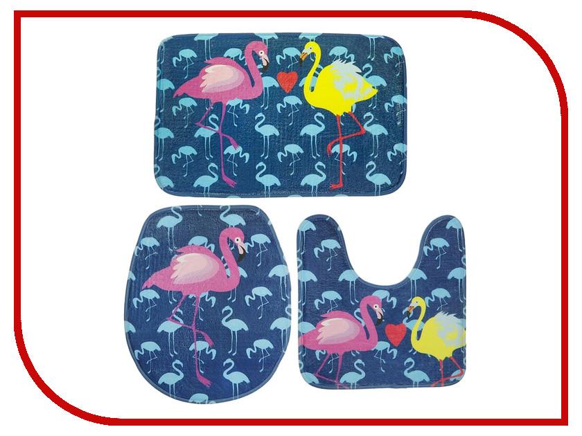 Коврик Доляна Набор Фламинго 3шт Blue 2355958