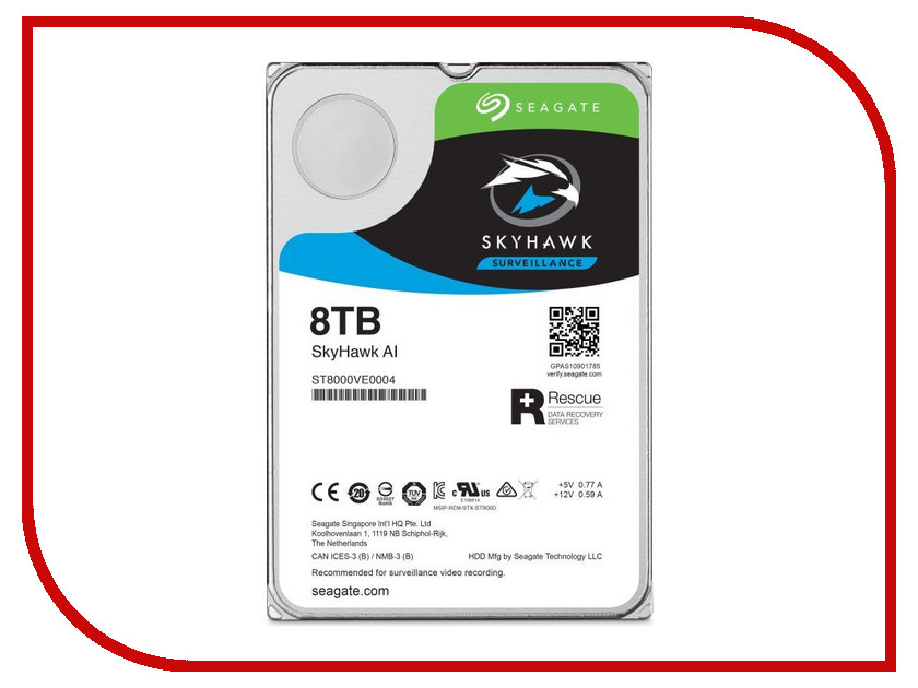 внутренние HDD/SSD ST8000VE0004  Жесткий диск 8Tb - Seagate SkyHawk AI ST8000VE0004
