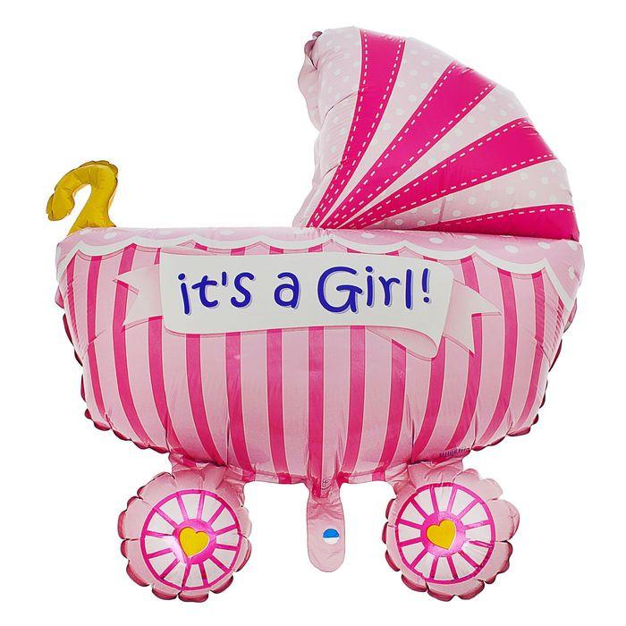 Шар фольгированный Flexmetal Коляска детская Pink 1552327