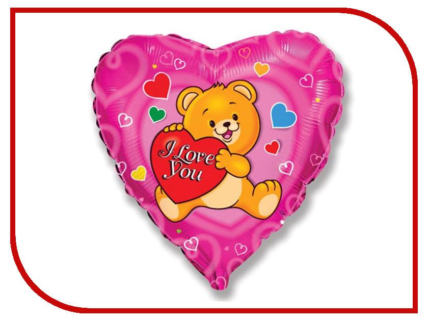 Шар фольгированный Flexmetal I Love You Мишка с сердечком 1260846 me to you i love you this much