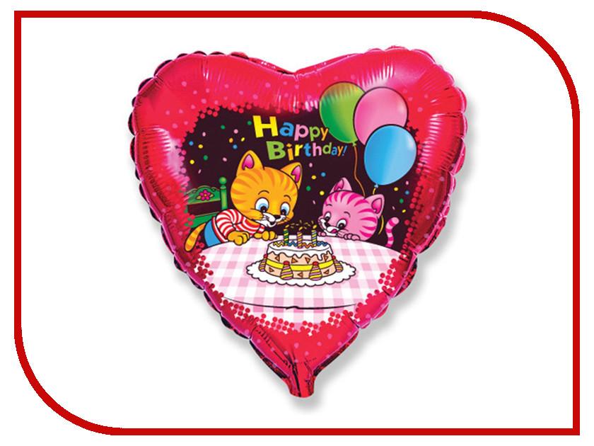 Шар фольгированный Flexmetal Happy Birthday Котята с тортом 1260842 гирлянда happy birthday 1 6 метра