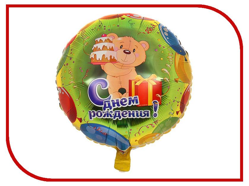 Шар фольгированный Anagram С Днем Рождения Мишка с тортом 1352400 воздушный шар anagram