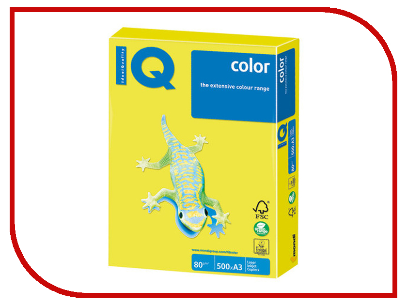 Бумага IQ Color A3 80g/m2 500 листов Neon Yellow NEOGB 110785