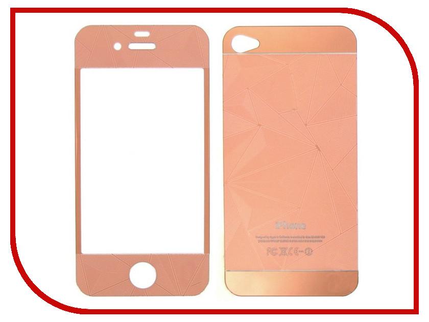 Аксессуар Защитное стекло Krutoff Group для APPLE iPhone 4 / 4S Rose Gold 21627