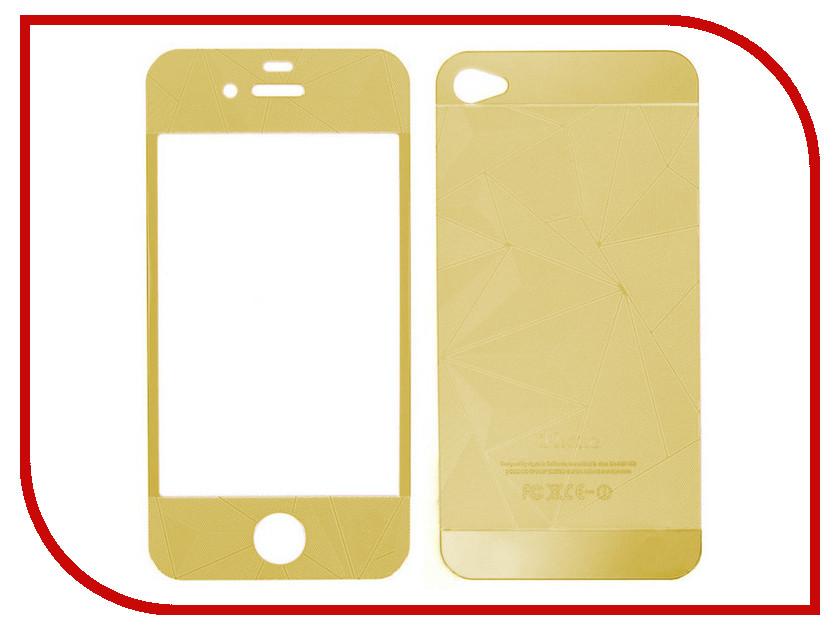 Аксессуар Защитное стекло Krutoff Group для APPLE iPhone 4 / 4S Gold 21652