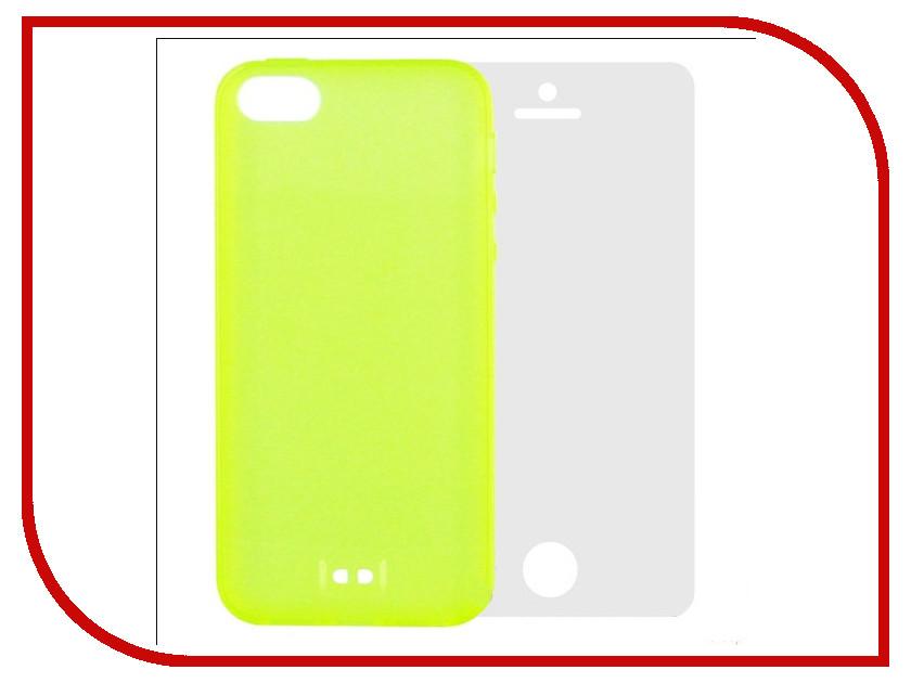 Аксессуар Чехол Krutoff BASEUS Colorful Case + пленка на переднюю панель для APPLE iPhone 5 Green 47034 аксессуар чехол krutoff для apple iphone 5 5s white 10759
