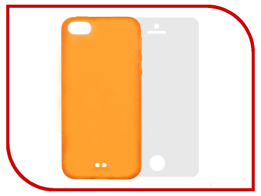 Аксессуар Чехол Krutoff BASEUS Colorful Case + пленка на переднюю панель для APPLE iPhone 5 Orange 47035 enkay cartoon print protective matte non slip case back cover for iphone 6 orange