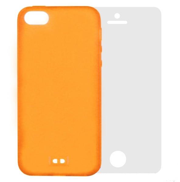 лучшая цена Аксессуар Чехол Krutoff для APPLE iPhone 5 BASEUS Colorful Case + пленка на переднюю панель Orange 47035