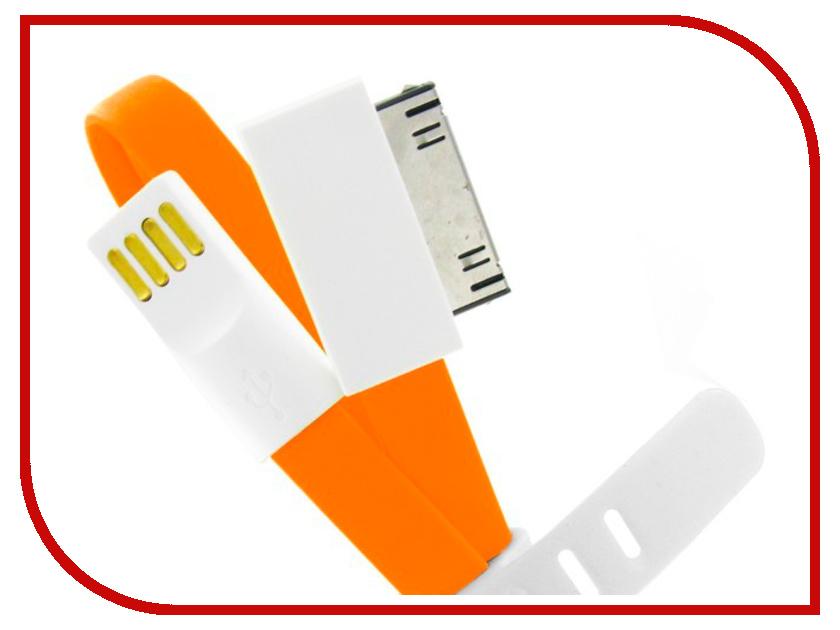 Аксессуар USB кабель Krutoff для APPLE iPhone 4/4S 1m с магнитом Orange 14120 apple iphone 4s 32gb white в москве