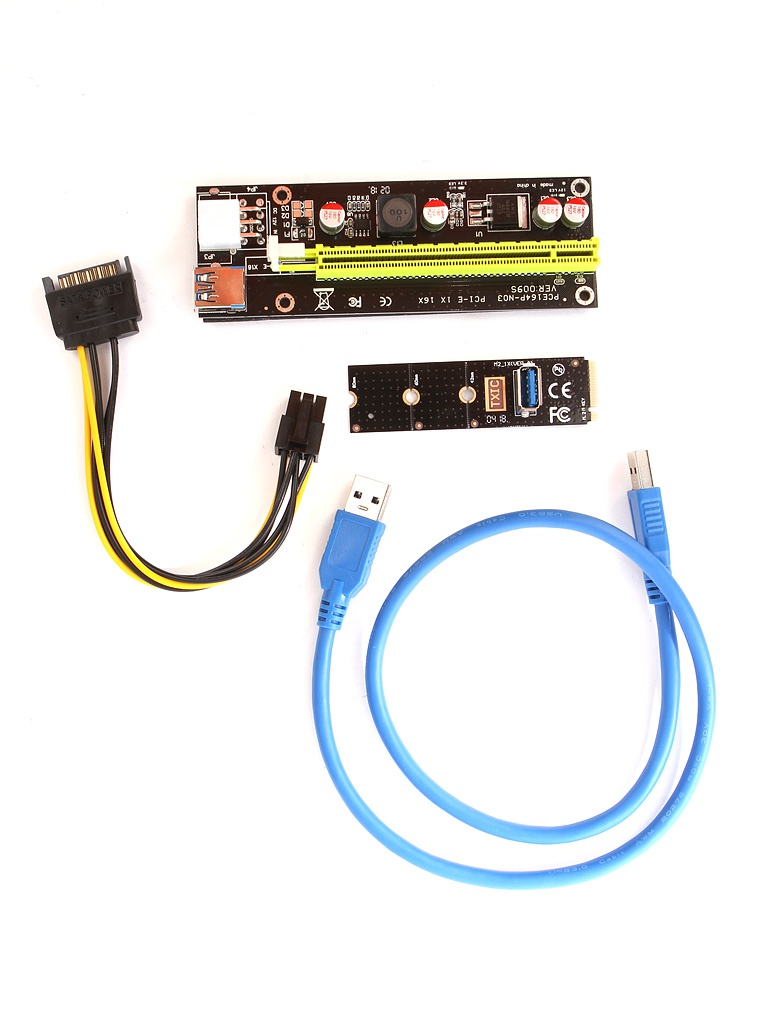 Аксессуар Адаптер Espada M2 to PCI-e x16 6pin USB Riser card M2PCIeKIt02 high quality pci e to usb 3 0 4 port express riser expansion card extender adapter for mining high speed extra power connector