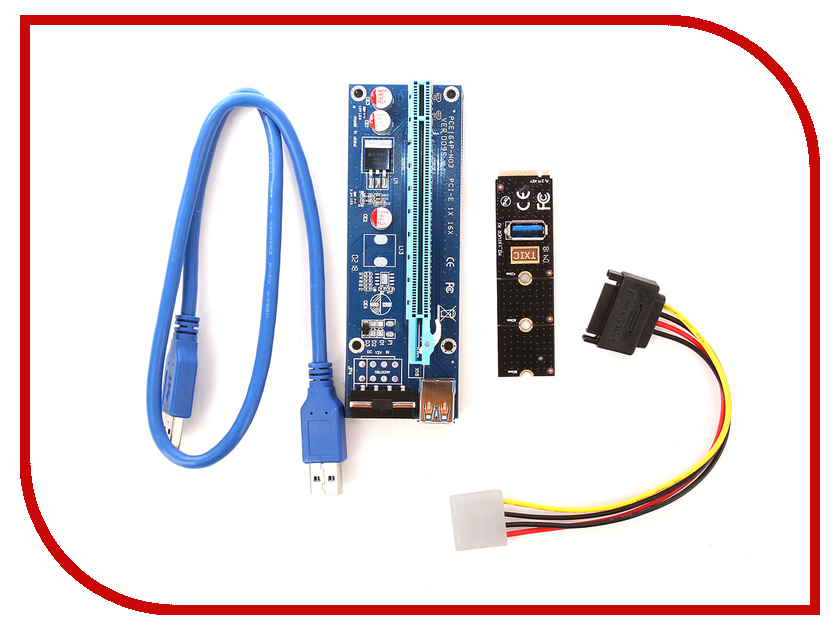 Аксессуар Адаптер Espada M2 to PCI-e x16 4pin USB Riser card M2PCIeKIt01