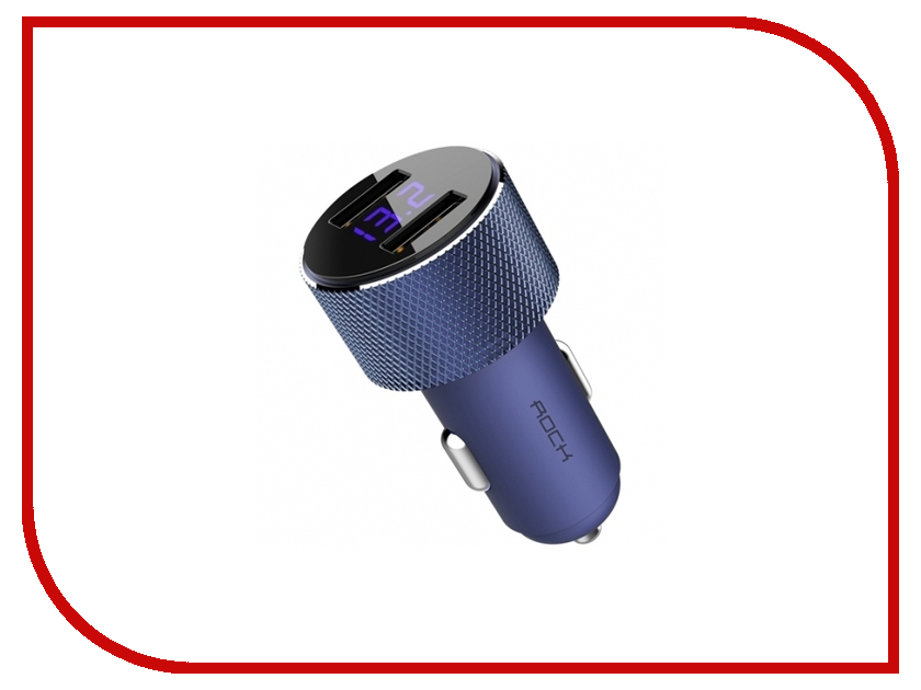 Зарядное устройство Rock Sitor Car Charger with Digital Display Blue RCC0127 rock muca car charger