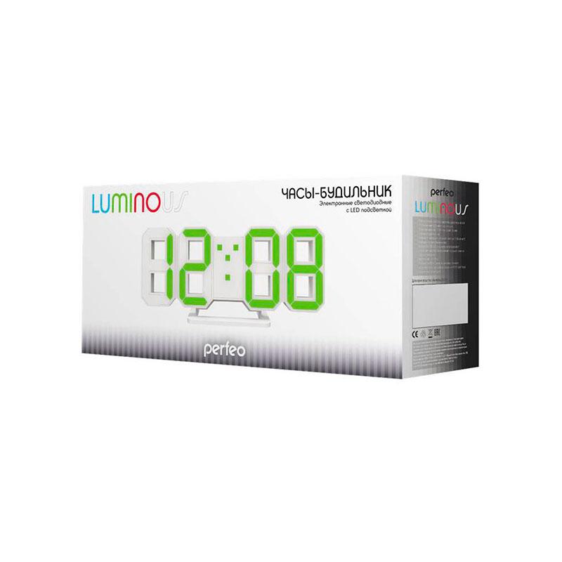 Часы Perfeo Luminous PF-663 White-Blue цифровая фоторамка digma pf 733 white