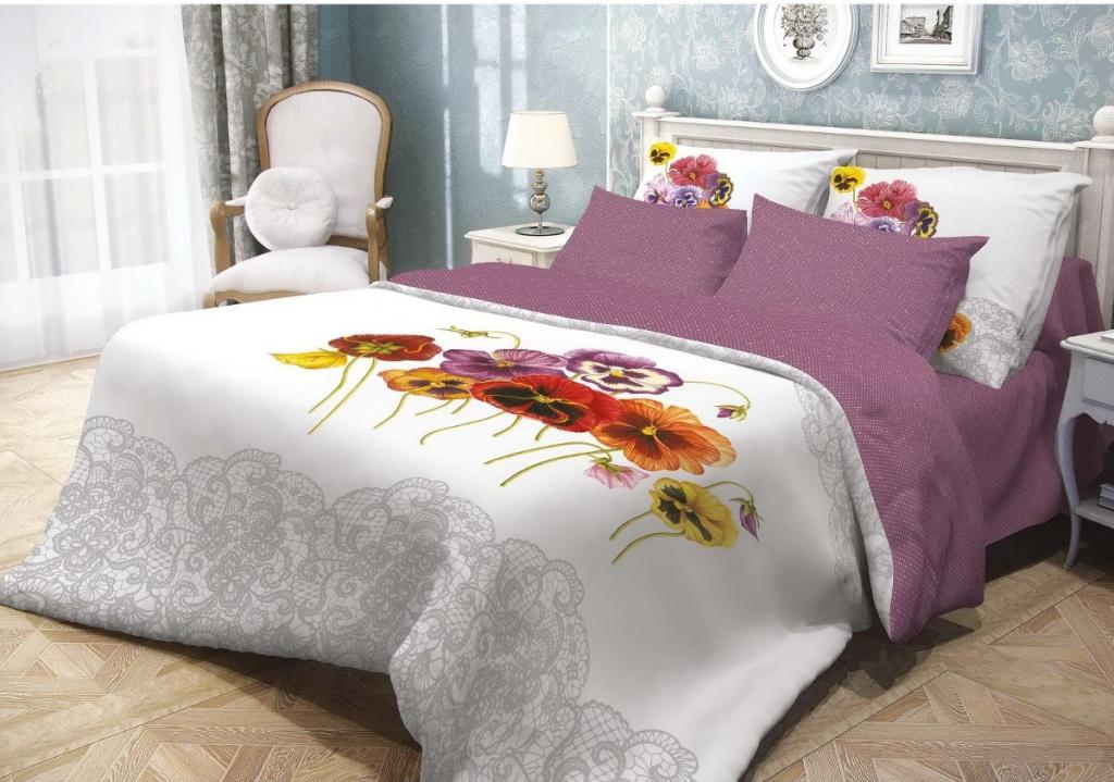 Постельное белье Волшебная ночь Фиалки Комплект Евро Ранфорс Purple 701933