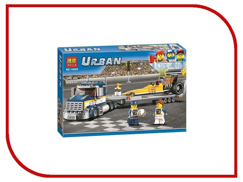 Конструктор Bela Urban Грузовик для перевозки драгстера 345 дет. 10650 конструктор bela автомобиль для перевозки заключённых 60043 10418