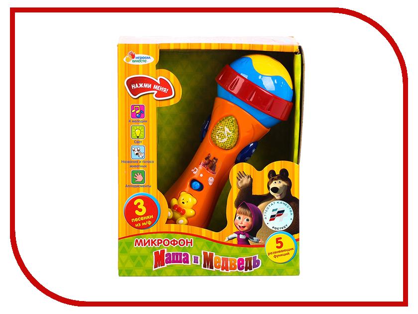 Детский музыкальный инструмент Играем вместе Микрофон Маша и Медведь 838-31 коврик пазл играем вместе маша и медведь