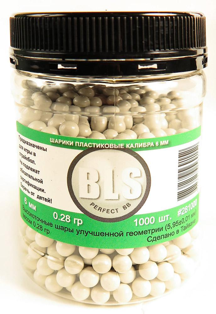 Шарики пластиковые BLS 0.28g 6mm 1000шт White