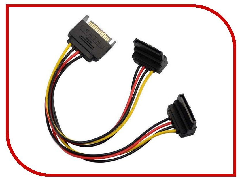 Аксессуар Переходник питания Orient C574 SATA 15pin (M) to 2xSATA 15pin (F) 30574 pc computer 4pin fdd male to 5 port 15pin sata female adapter converter hard drive splitter power cable cord 18awg