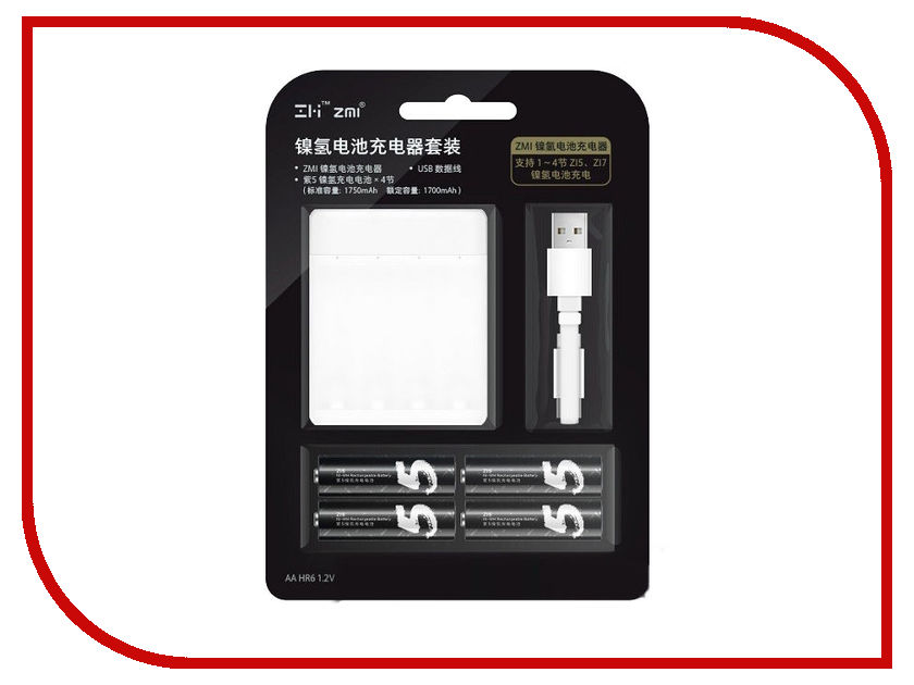 Зарядное устройство Xiaomi ZMI PB401 White - с аккумуляторами AA (4 шт) sunree waterproof 140lm 4 mode warm white light led sports headlamp orange 1 x aa