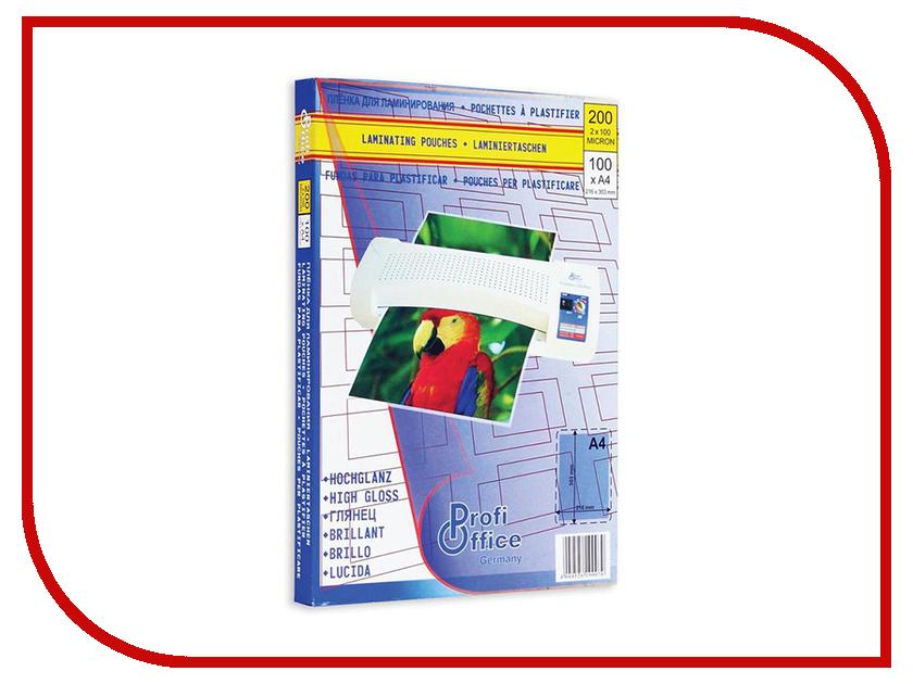 Пленка для ламинирования ProfiOffice А4 100мкм 100шт 2036 пленка для ламинатора bulros 80х110мм 100мкм 100шт