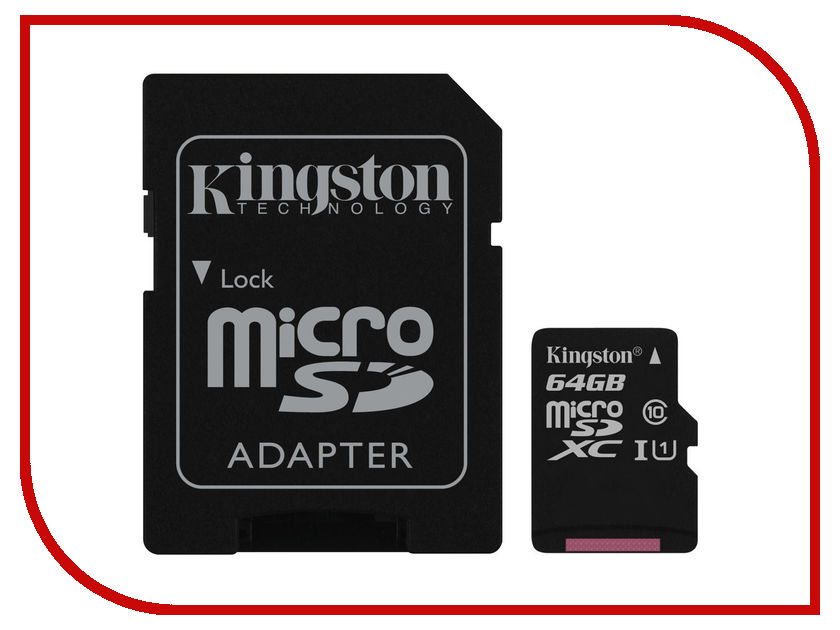 Карта памяти 64Gb - Kingston Micro Secure Digital HC Class10 UHS-I SDCS/64GB флюорит ezviz камера видеонаблюдения выделенная карта памяти micro sd карта tf 64gb class10 hai kangwei как бренд