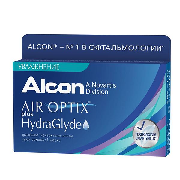 Контактные линзы Alcon Air Optix Plus HydraGlyde (6 линз / 8.6 / -1) контактные линзы alcon air optix aqua 6 шт r 8 6 d 08 00